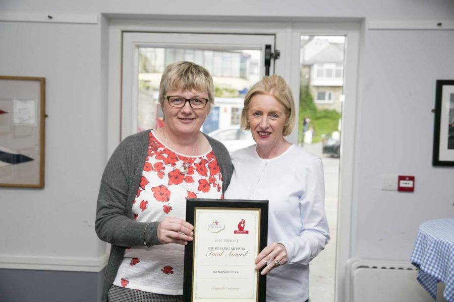 NO REPRO FEEpictured at the Belling award ceremony on Saturday 12th September 2015 at The Boat Club House in Baltimore was finalist of originals category was Helena Hickey (Skeaghanore West Cork Duck) with Rose O'Driscoll.The Belling West Cork Artisan  Awards were inaugurated in 2011 as a part of the Taste of West Cork Food Festival.  The aim of the Awards is to recognise and acknowledge the huge contribution that West Cork Artisan Food Producers have made over the past twenty five years and continue to do so. The Belling West Cork Artisan Awards celebrate both the creativity of the Originals and  acknowledge the work of those Newcomers who are crafting new specialty foods on the ground in West Cork today. The Belling West Cork Artisan Awards  are sponsored by Sean and Rose OÕDriscoll of Glen Dimplex/Belling Limited, both natives of West Cork. There are three categories of awards:¥ The ÔOriginalsÕ (prize Û5,000)¥ The ÔNewcomersÕ category (prize Û5000)¥ The ÔStudent BursaryÕ category (prize Û5,000)Picture: Emma Jervis Photography